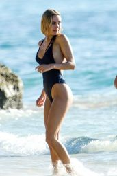 Kimberley Garner in a Swimsuit on the Beach in Barbados 12/26/2020
