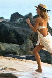 Kimberley Garner in a White Bikini in Barbados 12/21/2020