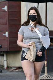 Lana Del Rey in Light Grey Teeat and Pair of Black Mini Shorts - Hugo