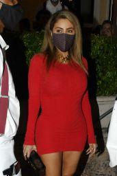 Larsa Pippen in a Red Mini Dress - Prime 112 Restaurant in Miami 12/04/2020
