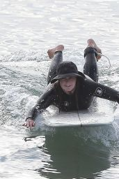 Leighton Meester on a Solo Surf Session in Malibu 12/27/2020