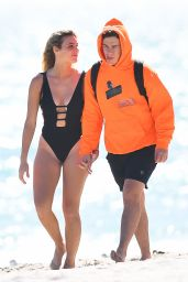 Lele Pons in a Black Swimsuit - Miami Beach 12/02/2020