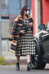 Mandy Moore in a Checkered Black and White Dress in Los Angeles 12/23/2020