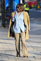 Myleene Klass in a Pair of Wide-Leg Beige Trousers and a Loose Blue Striped Shirt - London 12/01/2020