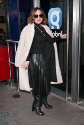 Myleene Klass in Black Top and Pleated Dress - London 12/12/2020