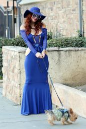 Phoebe Price in a Blue Dress in Los Angeles 12/22/2020