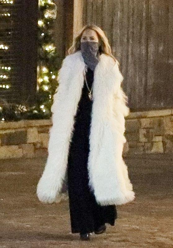 Rachel Zoe in a Long White Coat in Aspen 12/19/2020