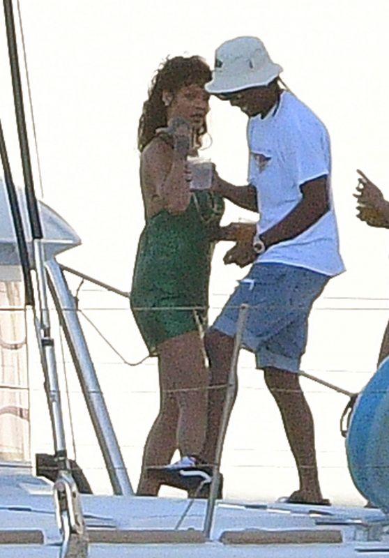 Rihanna in a Green Dress - Bridgetown, Barbados 12/28/2020