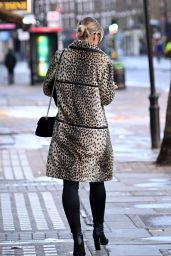 Vogue Williams in Leather Trousers and Animal Print Coat - London 12/20/2020