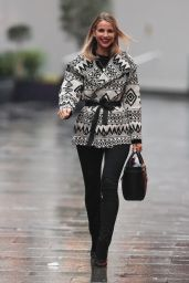 Vogue Williams in Striking Geometric Print Jacket and Denim Trousers - London 12/13/2020