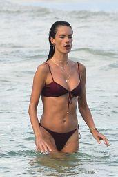 Alessandra Ambrosio in a Red Bikini - Florianópolis 01/10/2021