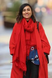 Anita Rani in a Bright Red Coat and Scarf in London 01/29/2021