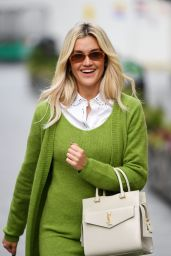 Ashley Roberts in a Green Dress and Brown Boots - London 01/18/2021