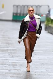 Ashley Roberts in a Purple Jumper and Brown Leather Trousers - London 01/05/2021