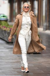 Ashley Roberts in White Jumpsuit and Roll Neck Jumper - London 01/06/2020