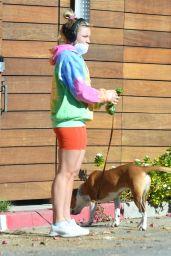 Florence Pugh in a Colorful Tie-Dye Hoodie - Los Angeles 01/06/2021
