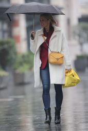 Jenni Falconer in Burgundy Blazer and Denim Jeans - London 01/13/2021