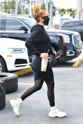 Jennifer Lopez in All-Black Gym Ready Outfit - Miami 01/28/2021