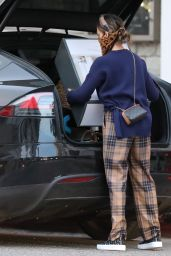 Jessica Alba in Burberry Plaid Type Pants at Target in Los Angeles 01/02/2021