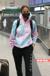 Joan Smalls in Travel Outfit at Milan Airport 01/20/2021