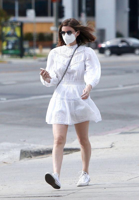 Kate Mara in a White Mini Dress - Beverly Hills 01/10/2021