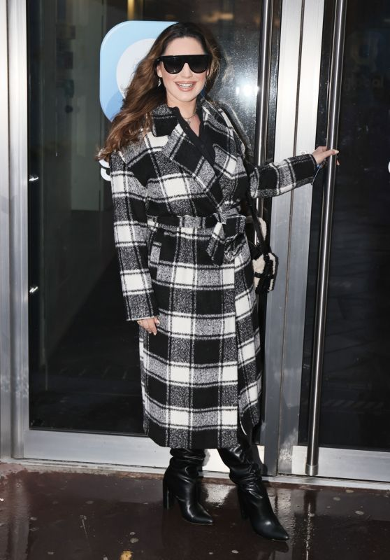 Kelly Brook in a Checked Coat and Boots - London 01/05/2021
