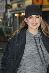 Kelly Brook in Grey Joggers and Boots - London 01/13/2021
