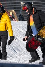 Kendall Jenner in a Ticket-Me-Yellow Prada Jacket and Black Prada Trousers - Aspen 01/02/2021