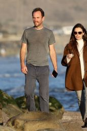 Lily Collins in Casual Outfit - Beach in Santa Barbara 01/10/2021