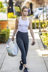 Miley Cyrus in Tank Top and Leggings - Shopping in Calabasas 01/22/2021