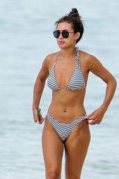 Montana Brown in a Stripped Bikini - Barbados 01/08/2021