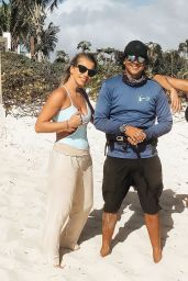 Nicole Scherzinger in a Black Swimsuit at Providenciales, Turks And Caicos Islands 01/05/2021