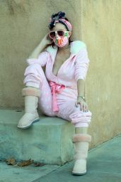 Phoebe Price in a Pink and White Polka Doted Outfit - LA 01/05/2021