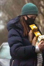 Rose Leslie Stocks Up On Organic Oat Milk in London 01/04/2021