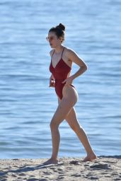 Scout Willis in a Red Swimsuit at the Beach in Malibu 01/16/2021