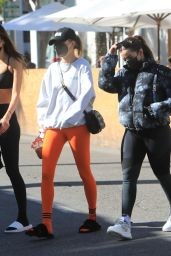 Addison Rae and Hailey Rhode Bieber at Croft Alley in Beverly Hills 02/05/2021