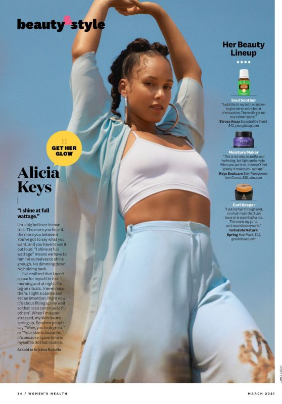 Alicia Keys - Womens Health March 2021 Issue