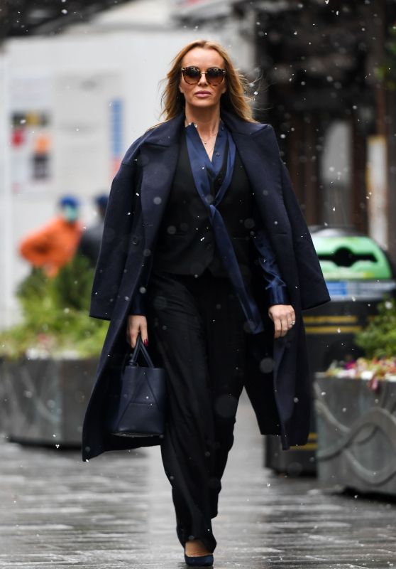Amanda Holden Wearing an Outfit by Zara and Haider Ackerman 02/09/2021