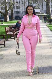 Amel Rachedi in a Pink Two Piece - London 02/26/2021