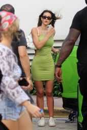 Amelia Hamlin in a Green Minidress in Miami 02/13/2021