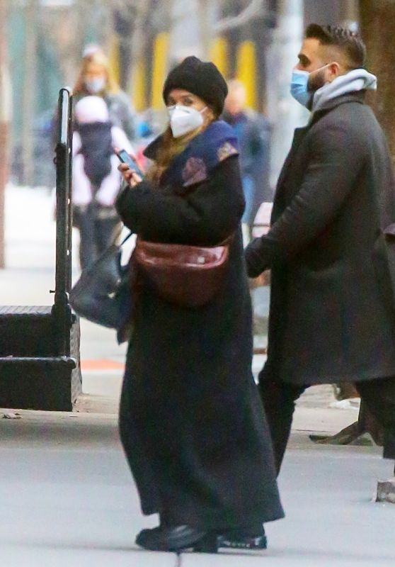 Ashley Olsen in a Maxi Black Coat - Tribeca 02/23/2021
