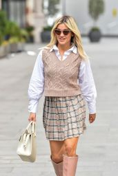 Ashley Roberts in a Plaid Mini Skirt and Knitted Vest 02/24/2021