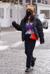 Bella Hadid in Colored Sweater and Orange Beanie - New York 02/11/2021