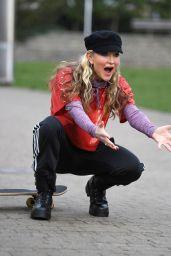 Caprice - Practising Her Skateboarding Skills - London 02/23/2021