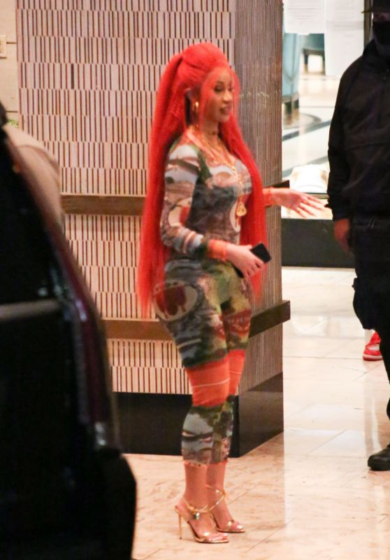 Cardi B in Red Hair - West Hollywood 02/04/2021