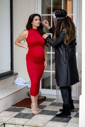 Casey Batchelor in a Red Dress - Photoshoot in London 02/16/2021