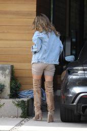 Chrissy Teigen in Brown Suede Thigh-High Boots - LA 02/13/2021