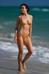 Claudia Bouza in a Gold Bikini in Miami Beach 02/10/2021