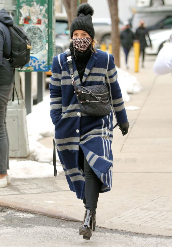 Dianna Agron in a Navy Striped Coat, Pom Pom Hat and MZ Wallace Purse - New York 02/10/2021