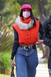 Dua Lipa in Fur-Lined Puffy Orange Vest - Los Angeles 02/15/2021